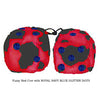 3 Inch Red Cow Fluffy Dice with ROYAL NAVY BLUE GLITTER DOTS
