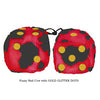 3 Inch Red Cow Fluffy Dice with GOLD GLITTER DOTS