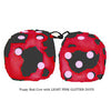 3 Inch Red Cow Fluffy Dice with LIGHT PINK GLITTER DOTS