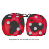 3 Inch Red Cow Fluffy Dice with SILVER GLITTER DOTS
