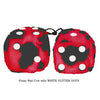 3 Inch Red Cow Fluffy Dice with WHITE GLITTER DOTS
