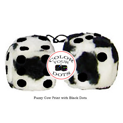 3 Inch Cow Fuzzy Dice with Black Dots