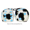 3 Inch Cow Fuzzy Dice with Light Blue Dots
