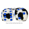 3 Inch Cow Fuzzy Dice with Royal Navy Blue Dots