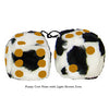 3 Inch Cow Fuzzy Dice with Light Brown Dots