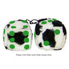 3 Inch Cow Fuzzy Dice with Dark Green Dots