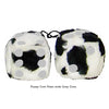 3 Inch Cow Fuzzy Dice with Grey Dots