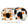 3 Inch Cow Fuzzy Dice with Orange Dots