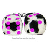 3 Inch Cow Fuzzy Dice with Hot Pink Dots