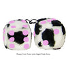 3 Inch Cow Fuzzy Dice with Light Pink Dots