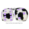 3 Inch Cow Fuzzy Dice with Lavender Purple Dots