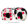 3 Inch Cow Fuzzy Dice with Red Dots