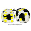 3 Inch Cow Fuzzy Dice with Yellow Dots