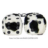 3 Inch Cow Fuzzy Dice with BLACK GLITTER DOTS