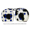 3 Inch Cow Fuzzy Dice with ROYAL NAVY BLUE GLITTER DOTS