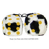 3 Inch Cow Fuzzy Dice with GOLD GLITTER DOTS
