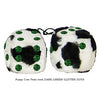 3 Inch Cow Fuzzy Dice with DARK GREEN GLITTER DOTS