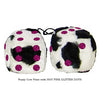 3 Inch Cow Fuzzy Dice with HOT PINK GLITTER DOTS