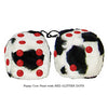 3 Inch Cow Fuzzy Dice with RED GLITTER DOTS