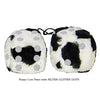 3 Inch Cow Fuzzy Dice with SILVER GLITTER DOTS