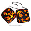 3 Inch Black Flames Fuzzy Dice with Orange Dots