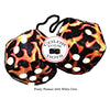 3 Inch Flames Furry Dice with White Dots