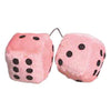 2 Inch Light Pink Fuzzy Dice For Car