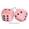 2 Inch Light Pink Fuzzy Dice with Black Dots