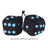 3 Inch BLACK GLITTER Fuzzy Dice with Light Blue Dots