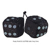 3 Inch BLACK GLITTER Fuzzy Dice with Grey Dots