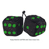 3 Inch BLACK GLITTER Fuzzy Dice with Dark Green Dots