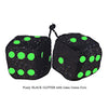 3 Inch BLACK GLITTER Fuzzy Dice with Lime Green Dots