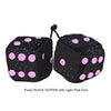 3 Inch BLACK GLITTER Fuzzy Dice with Light Pink Dots