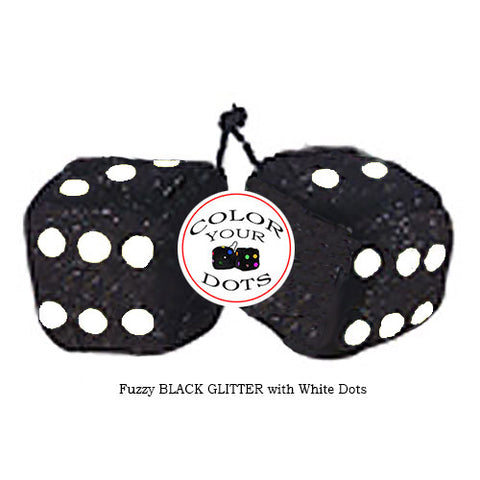 3 Inch BLACK GLITTER Fuzzy Dice with White Dots