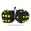 3 Inch BLACK GLITTER Fuzzy Dice with Yellow Dots