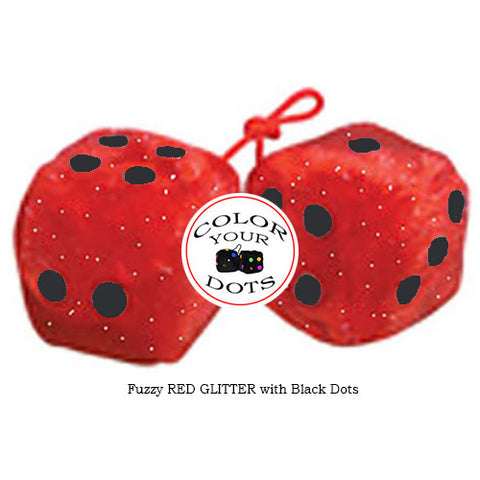 3 Inch RED GLITTER Furry Dice with Black Dots