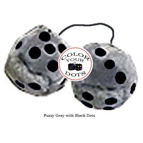 3 Inch Gray Fuzzy Dice with Black Dots