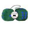 3 Inch Dark Green Furry Dice