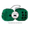 4 Inch Dark Green Fluffy Dice with Black Dots