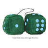 3 Inch Dark Green Furry Dice with Light Blue Dots