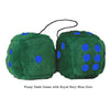 3 Inch Dark Green Furry Dice with Royal Navy Blue Dots