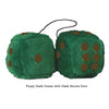 4 Inch Dark Green Fluffy Dice with Dark Brown Dots