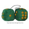 4 Inch Dark Green Fluffy Dice with Light Brown Dots
