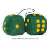 4 Inch Dark Green Fluffy Dice with Goldenrod Dots