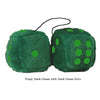 3 Inch Dark Green Furry Dice with Dark Green Dots