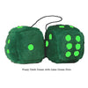 4 Inch Dark Green Fluffy Dice with Lime Green Dots