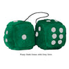 4 Inch Dark Green Fluffy Dice with Grey Dots
