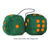 4 Inch Dark Green Fluffy Dice with Orange Dots