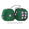 4 Inch Dark Green Fluffy Dice with Light Pink Dots