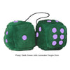 4 Inch Dark Green Fluffy Dice with Lavender Purple Dots